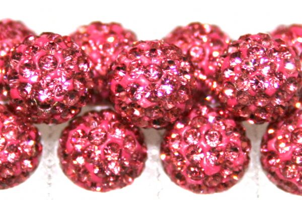 8mm Pink 70 Stone  Pave Crystal Beads- Half Drilled  PCBHD08-070-006